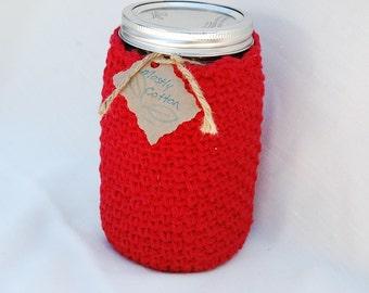 Mason Jar Cozy Red Crocheted Cozy