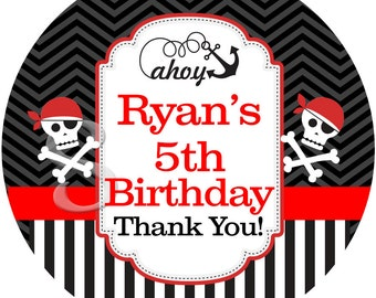 Ahoy Pirate Party Personalized Sticker, Boys Birthday Label: Skull Birthday Party Favor Labels