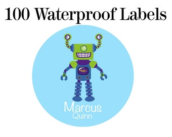 "100ct Waterproof Name Labels - Personalized Stickers - Kids Name Tag Labels, Robot 1"" Round"
