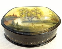 Russian Box - Fedoskino Handpainted Trinket Box -  Spring Landscape - Made in USSR