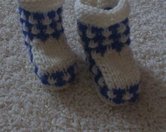 great knitted baby booties in blue and white