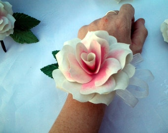 Paper Flower Wrist Corsage, or Pin Corsage, Wedding, Prom, Baby Shower, quinceanera