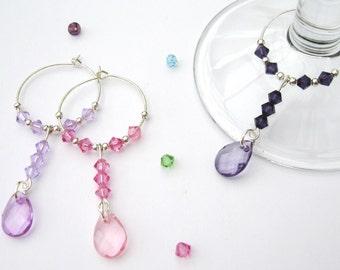 Set of 6 Swarovski Crystal & Acrylic Pendant wine glass charms
