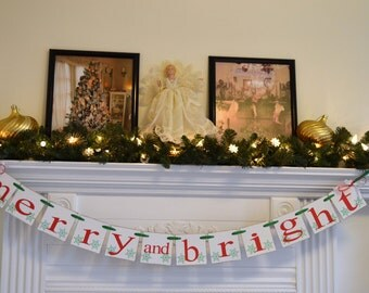 Christmas Banner, Merry and Bright Banner, Holiday decorations, garland, sign, Christmas Photo Prop, Snowflake Banner