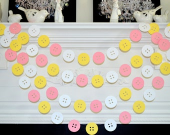 Superieur Baby Buttons Garland Cute As A Button Decorations Shower Decor White With Welcome  Home Girl
