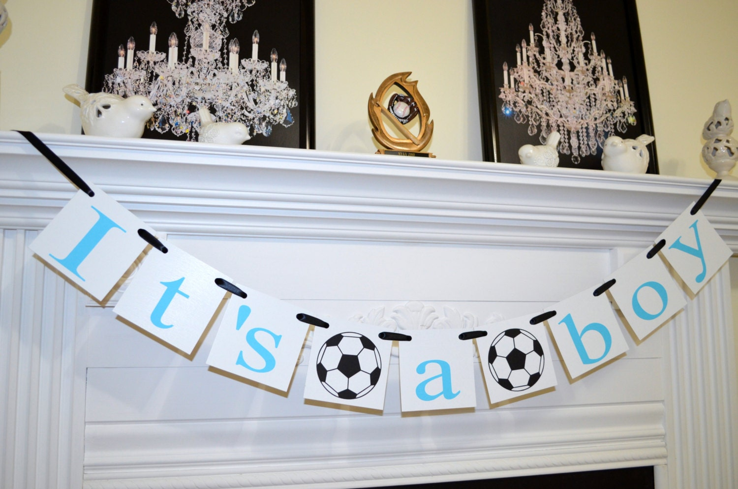 Its a boy banner soccer theme baby shower decorations baby for Baby shower room decoration