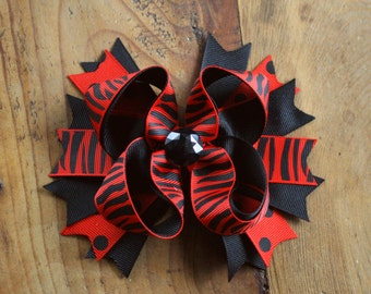 Red and Black Zebra Hair bow