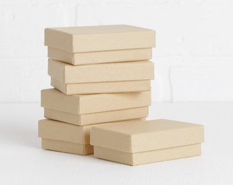 """Set of 16 Kraft Gift Boxes, 3 1/16"""" x 2 1/8"""" x 1"""" Small Cotton Filled Jewelry Boxes"""