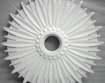 "28"" White Henta Daisy Ceiling Medallion DIY Paintable ABS Plastic Modern Light Fixture"