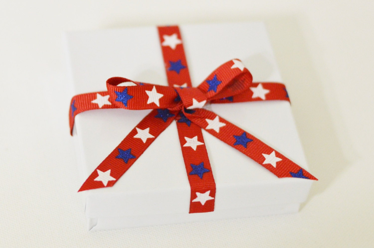 4th of july gift box white red and blue gift box 4th of july