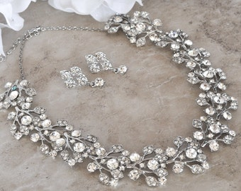 Crystal necklace and earring set.