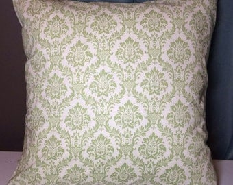Custom made green damask pillow cover/sham. Multiple sizes to choose from.