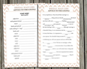 "Bridal Mad Libs PDF Instant Download- ""Advice to the Couple"" Story- Peach Chevron"