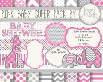 Gray Pink Digital Paper background textures patterns giraffe elephant chevron polka dots frames grey invitations baby shower printables