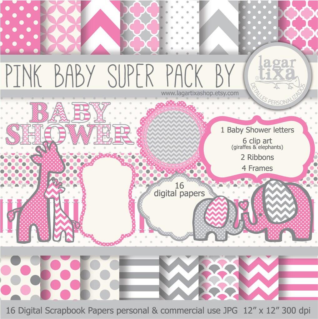 Gray pink digital paper background textures patterns - Fotos de elefantes bebes ...