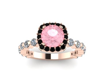Engagement Ring Black Diamond Halo Engagement Ring Morganite Engagement Ring 14K Rose Gold Ring with 6.5mm Round Morganite Center - V1085
