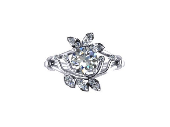 moisosanite engagement ring petals 14k white gold with