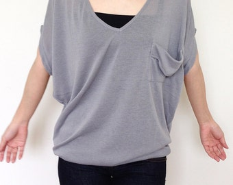 SC003: Soft Gray Blouse, Dolman T Shirt, Dolman Sleeve Top, Oversized Top, V Neck Tee, Ladies T shirt, Casual Chic Wide Sleeve Women Top