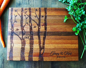 Personalized Family Tree Cutting Board, Birch Aspen Tree With Heart, Established Family, Last Name, Anniversary, Wedding, Gifts For Her