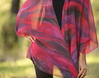 Red Hand painted silk jacket, silk poncho, wearable art, one size fits all.