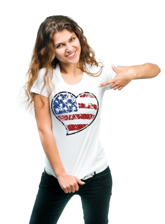 American Flag T Shirt Stylish Distress Flag 4th Of July Ladies