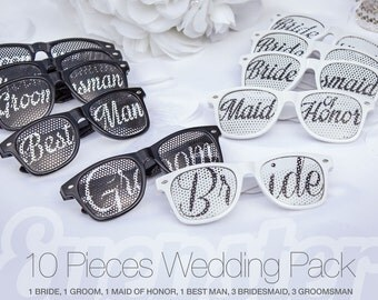 10pcs Retro Party WEDDING SUNGLASSES PACK Bride Groom Maid Of Honor Best
