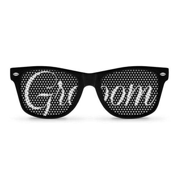 GROOM Black Retro Party Wedding Sunglasses