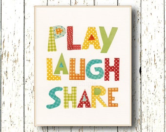 Play Laugh Share Print Blue green red yellow orange Art for children Kids wall art Playroom Family Room Boys Girls Bedroom