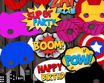 SUPER HERO masks, printable party decorations,  word bubbles, instant download, photo booth props, superhero party, spiderman mask, ironman