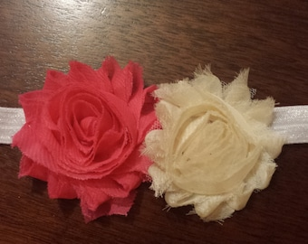 Shabby chic pink and ivory rosette headband for baby girl