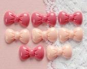 8 Pcs Pink Puffy Bow Cabochons - 23x14mm