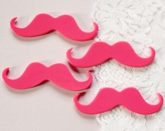 4 Pcs Big Hot Pink Mustache Cabochons - 68x25mm
