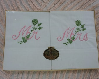 Vintage Mr and Mrs Embroidered Pillow Cases in Original Package