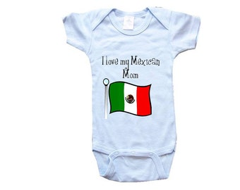 Baby One-Piece Body Suit -Personalized Gifts-I LOVE My Mexican Mom - CreativeIdeas&More Baby Designs - White, Blue or Pink One-Piece
