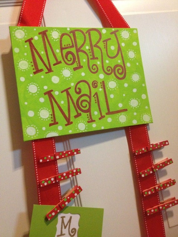Items similar to merry mail hand painted flat 8x10 canvas for Christmas card holder craft project