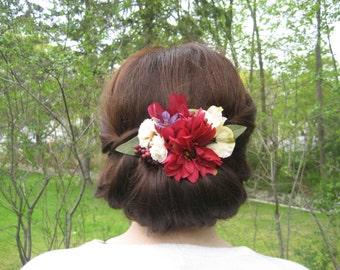 Burgundy and Ivory floral hair clip, bridal hair accessory, Autumn hair accessory