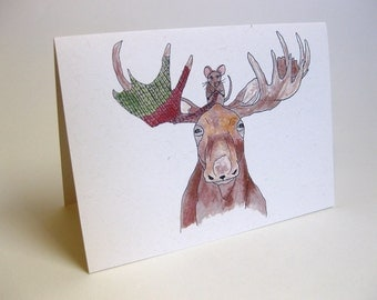 Holiday Christmas Moose and Mouse Card - Handmade and printed from original ink and gouache illustration