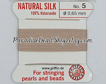 Silk Beading Thread, Griffin Beading Cord with Needle, Light Pink