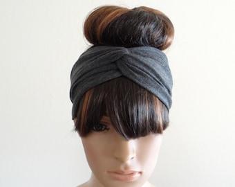Dark Grey Headband. Dark Grey Head Wrap