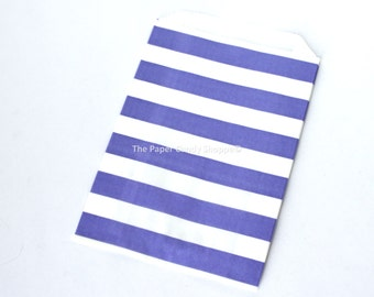 Favor Bags Rugby Stripe 12 Purple Rugby Stripe Gift Bags, Popcorn Bags, Candy Buffet Bags, Candy Bag, Lavender Wedding, Baby Shower Birthday