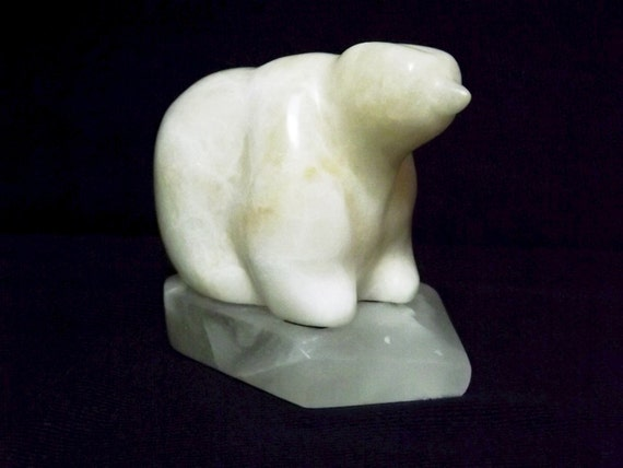 Alabaster stone carving small size polar bear sculpture carved