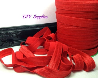 5/8 red elastic, FOE, Wholesale elastic, headband elastic, fold over elastic, diy hair ties, elastic by the yard