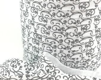 5/8 Black pretty swirls fold over elastic, FOE headband elastic for making diy hair ties, foldover  elastic by the yard