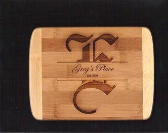 7 Personalized Bamboo 6 x 8 custom Mongram Cutting Board