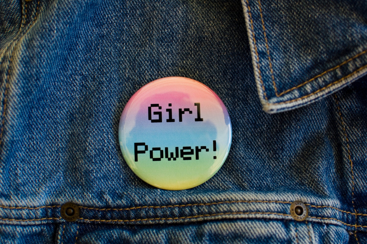 girl power pin button feminist bottle opener key chain the best pinback button. Black Bedroom Furniture Sets. Home Design Ideas