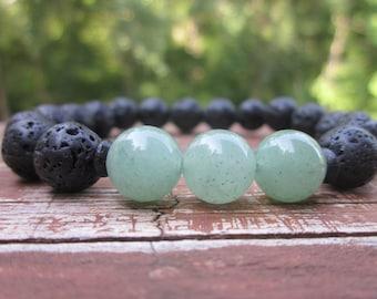 gemstone bracelet rustic black lava stone bracelet green aventurine bracelet mens bracelet women's bohemian yoga  stacking stretch bracelet