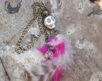 rear view mirror car charm boot bling hanging beads car decor Pink white feathers skull glass beads rocker boot bling feather tassel charm