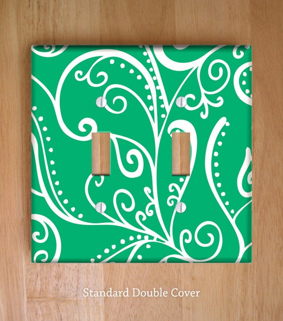 Decorative Wall Plates Nz : Silent era green vinyl double light switch cover outlet