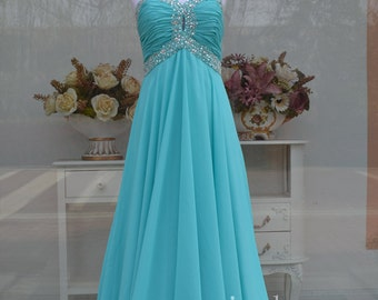sweetheart chiffon Sky Blue/Teal prom dress