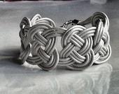 Silver leather bracelet. Nautical knots bracelet.